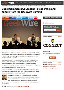 Geekwire - Lessons in Leadership